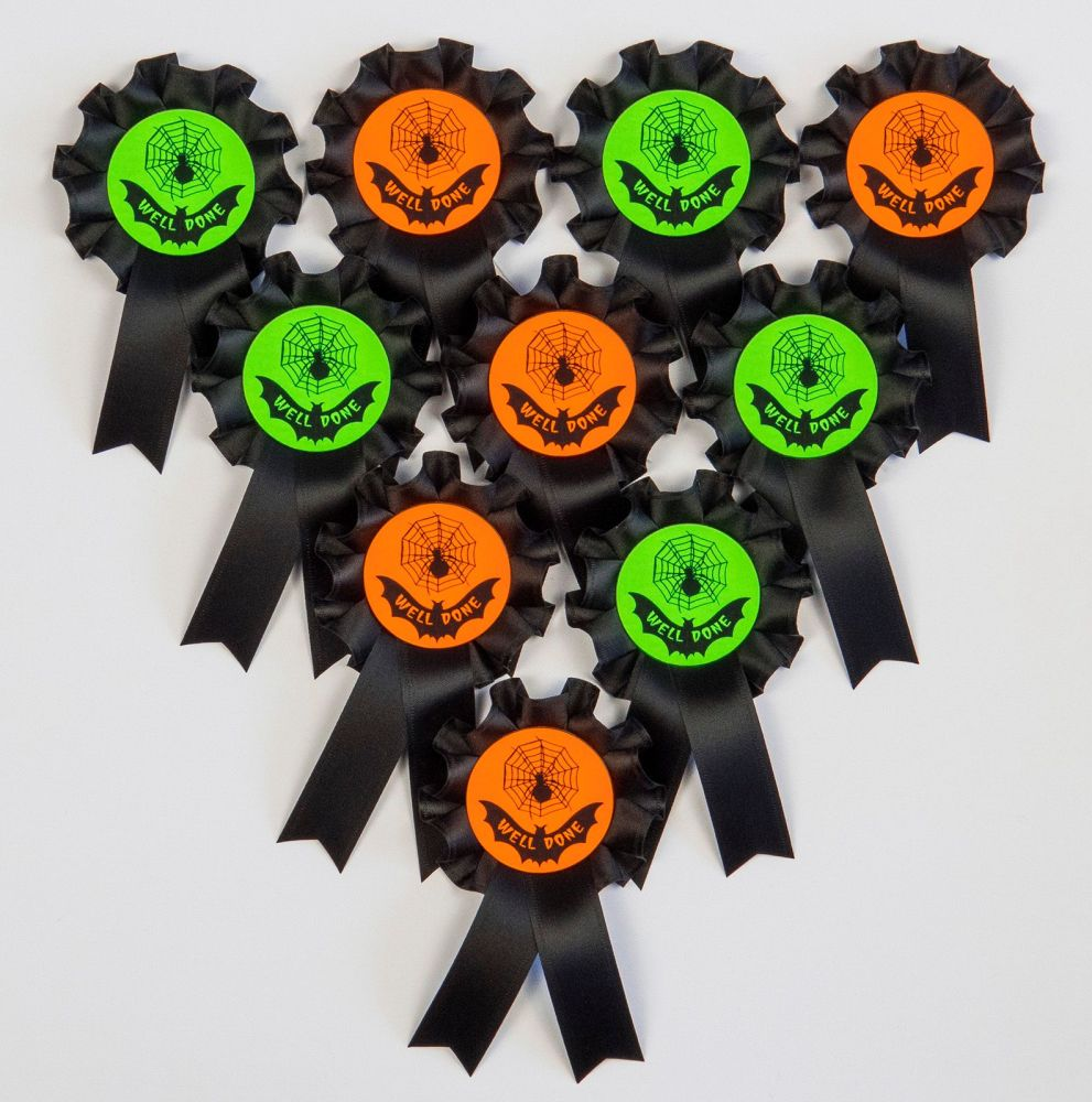 HALLOWEEN Mini Rosettes, Well Done, Winner or Special