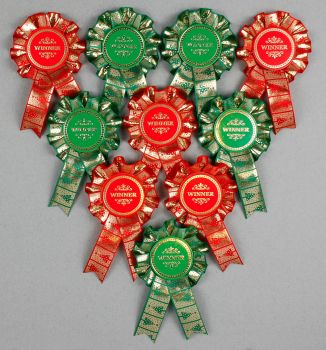 Christmas Mini Winner/Well-Done Rosettes x 10. Shows, Party Games etc