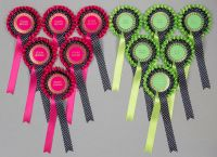 2-Tier Rosettes x 6 Hot Pink/Lime Green/Aqua, Black Spotted, Special/Well Done/Clear Round or Well Done