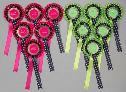 Large 2-Tier Rosettes x 6 Hot Pink/Black Spotted, Special, Clear Round or W