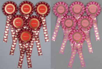 Valentine's Heart 1-Tier Rosettes, Set x 6 Special, Well Done or Clear Round