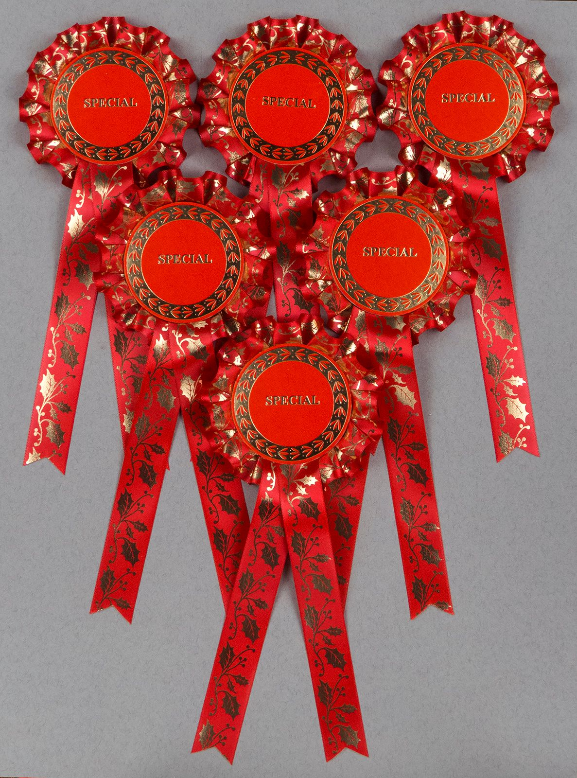 Christmas Holly, Red 1-Tier Rosettes, Set x 6 Special, Well Done or CR