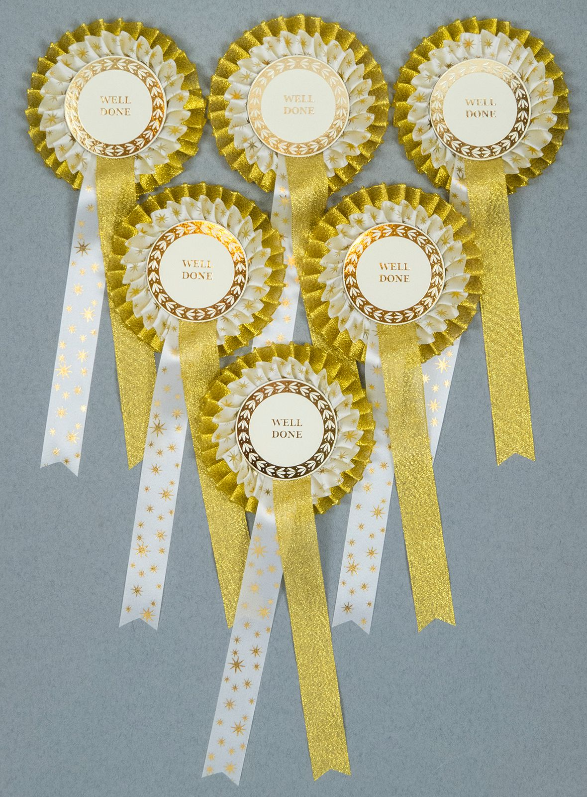 Gold Spangle Star 2-Tier Rosettes, Set x 6 Special, Well Done or CR