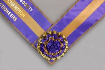 Deluxe 3-ribbon Sash, Lined, Overlocked edge with Centre Rosette & Velcro