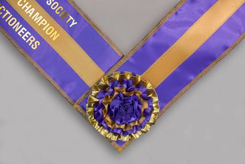 3-ribbon Sash, lined, overlocked edge with centre rosette feature