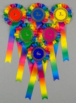 Rainbow Large 1-Tier Rosettes, Set 1st-6th