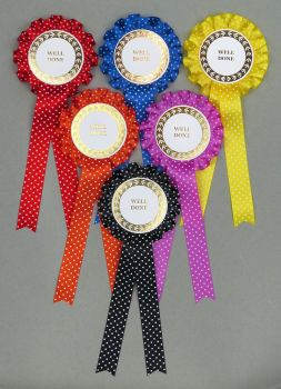 Assorted Spotty Large 1-tier Rosettes, Set x 6 Special, Well Done or Clear Round