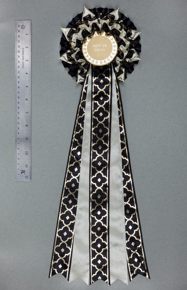 Magnifico Large Decorative Rosette x 1, Extra Long Tails, Champ/BIS etc