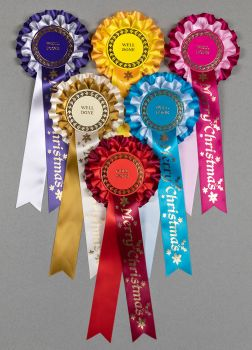 Large Christmas 2-Tier Rosettes, Wide Tails, Special,Well Done or Clear Round
