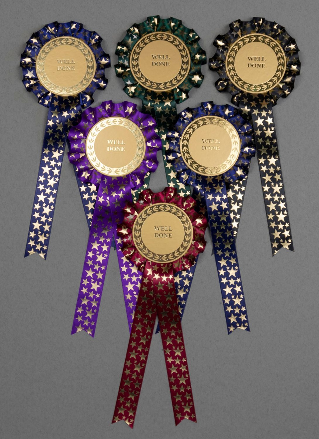 Christmas Winter Star 1-Tier Rosettes, Set x 6 Special, Well Done or Clear