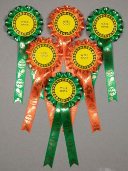 Easter Rosettes, 1-tier Set x 6 Special, Well Done or Clear Round