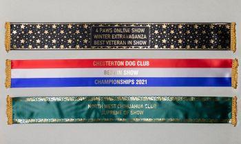 Dog Sashes. Any Wording, 10 colourways, Multi Designs, Personalised