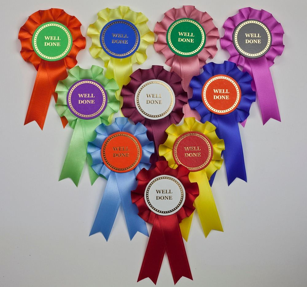 Mini Winner/Well Done Rosettes x 10 Assorted