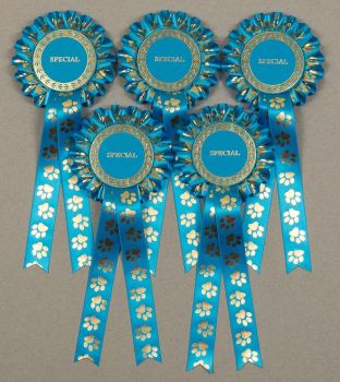 Paw Print Large 1-Tier Rosettes, set of 5, Turquoise, Pink or Plum purple