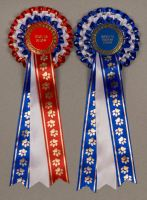 Set of Champion/Reserve or BIS/RBIS 3-Tier Paw Print Rosettes