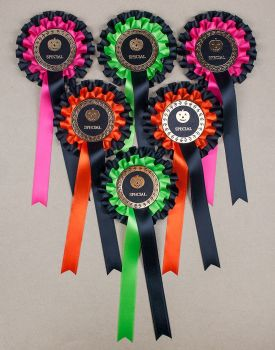 HALLOWEEN 2-tier Large Rosettes, Set x 6