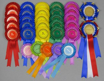 Complete Show Set - 57 Large Rosettes. 10 sets x 1st-5th etc