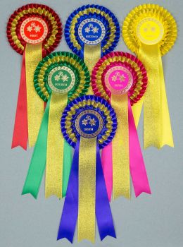 Christmas Gold Sparkle 3-Tier Rosettes, Set 1st-6th