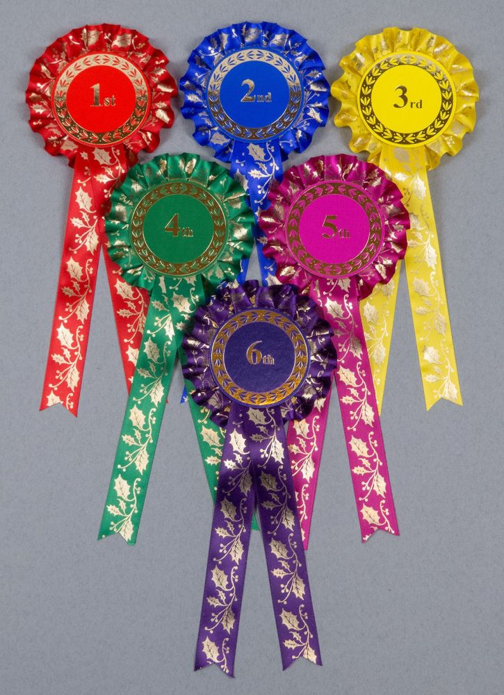Christmas Golden Holly Rosettes 1st-3rd, 1st-4th or 1st-6th