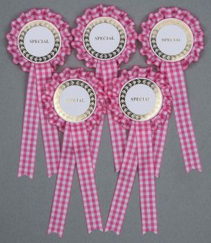Pink Gingham Check 1-Tier Rosettes, Set x 5 Special, Well Done or CR