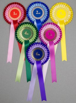 Classic 2-Tone,  Large 2-Tier Rosettes, Set of 1st - 6th