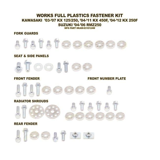 PLASTICS BOLT & WASHER KIT KAW-0310124W (355)