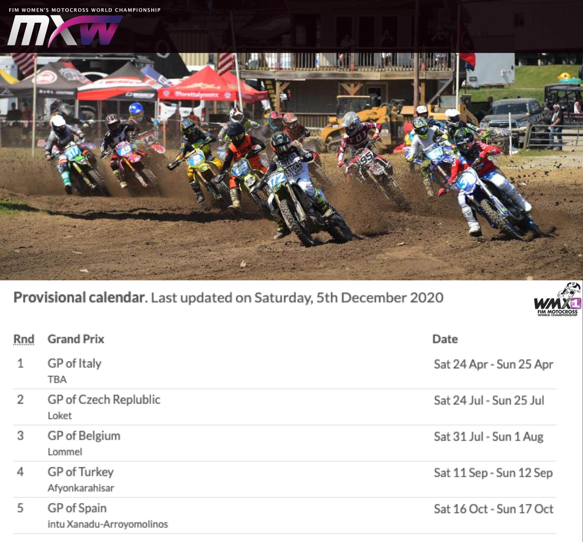 Womens motocross world championship, WMX Calendar