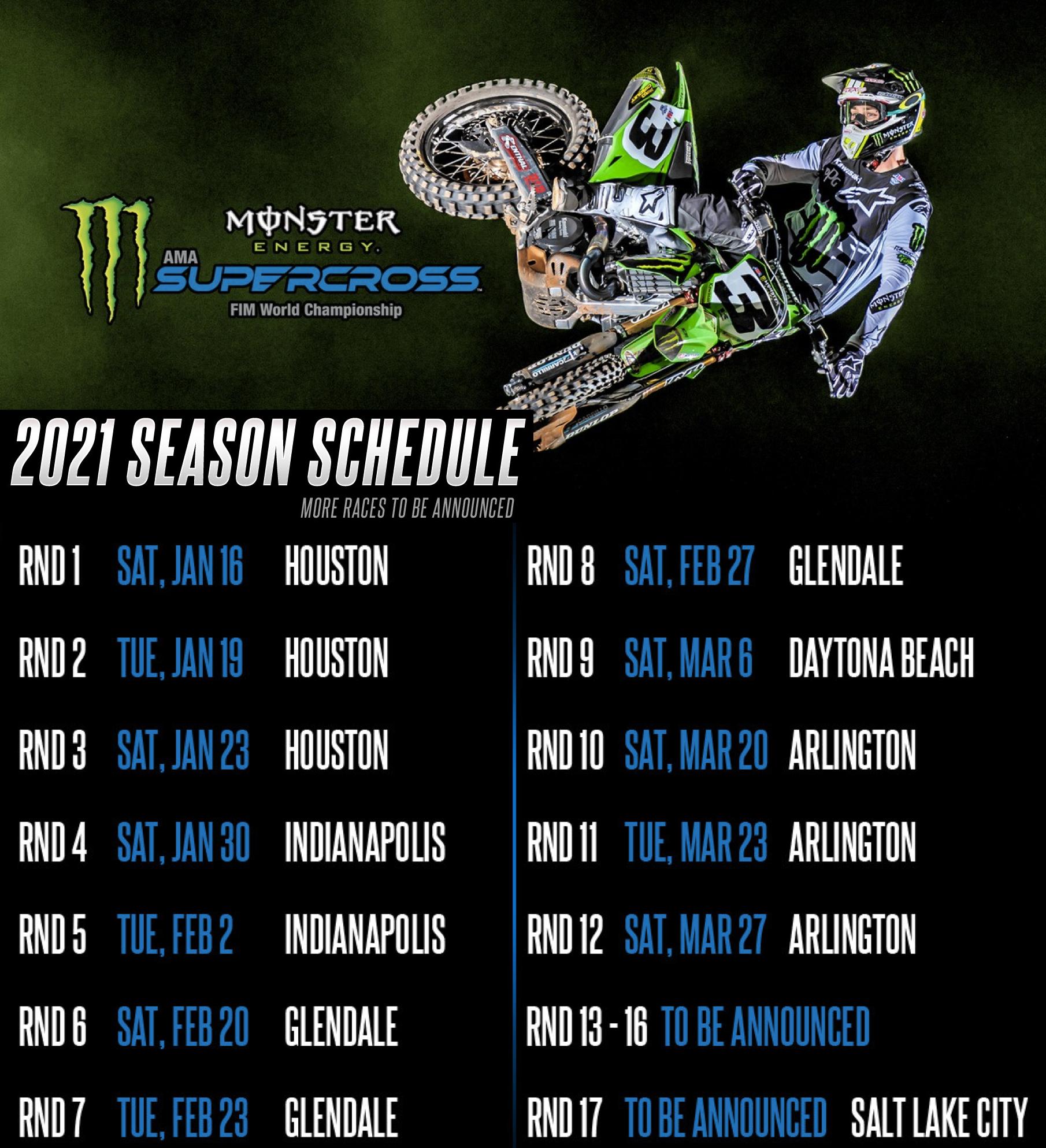 2021 AMA Supercross Calendar