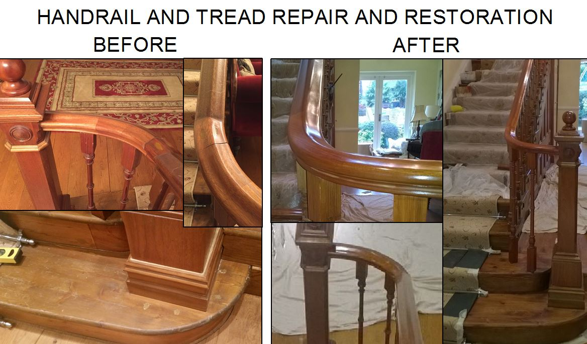 handrail repair, restoration, tread replacment polishing