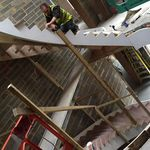 modern geometrical stair being installed