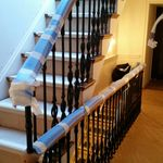 cast irong balustrade and timber handrail