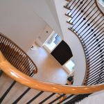 Curved handrail french polished