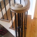 oak scroll on metal balusters