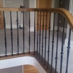 oak handrail wrought iron spindles