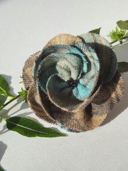 Dark Eau de Nil Mix British Tweed Wool Corsage - Handcrafted Fabric Brooch