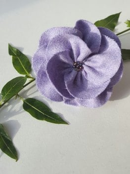 Lavender British Tweed Wool Corsage - Handcrafted Fabric Brooch