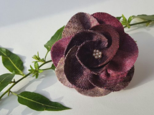 Lavender Mix British Tweed Wool Corsage - Handcrafted Fabric Brooch
