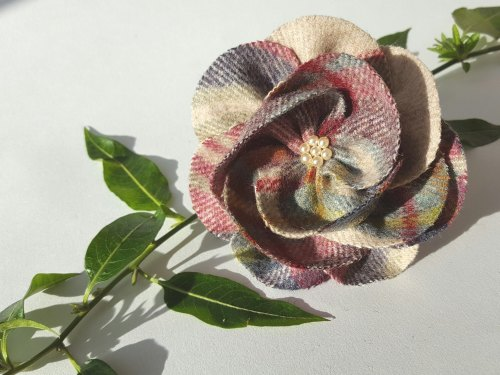 Mulberry Mix British Tweed Wool Corsage - Handcrafted Fabric Brooch