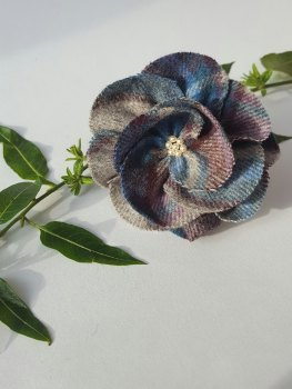 Purple / Blue Mix British Tweed Wool Corsage - Handcrafted Fabric Brooch