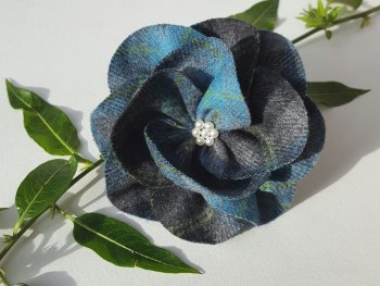 Teal / Grey Mix British Tweed Wool Corsage - Handcrafted Fabric Brooch