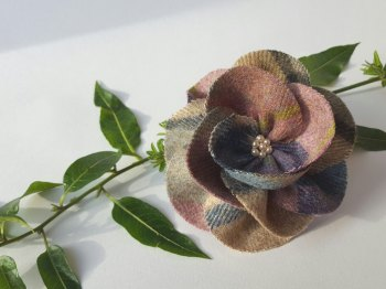 Lilac / Blue Mix British Tweed Wool Corsage - Handcrafted Fabric Brooch
