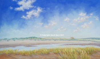 Pastel Painting - Across the Marshes to the Dunes - Brancaster (Collection in Person Only)
