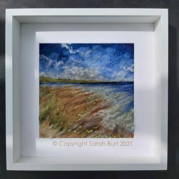 sarah-burt-framed-textile-art-flying-towards-the-sea-poppies-coast