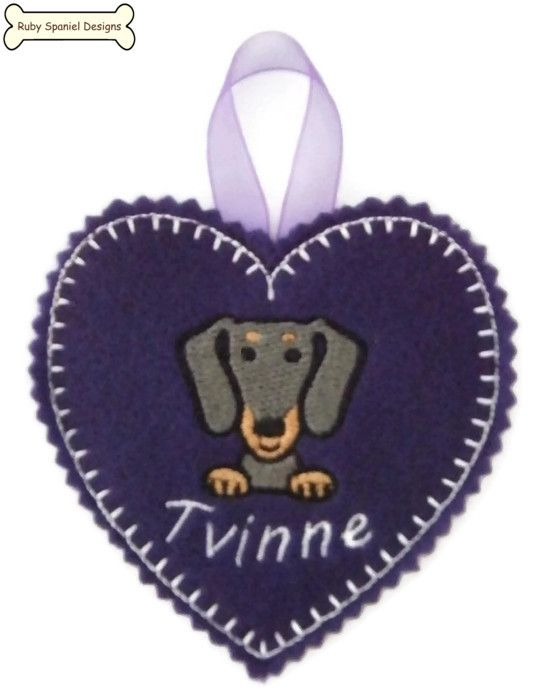 DOG FACE Personalised Embroidered Heart Decoration