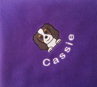 CAVALIER KING CHARLES SPANIEL Embroidered Fleece Blanket