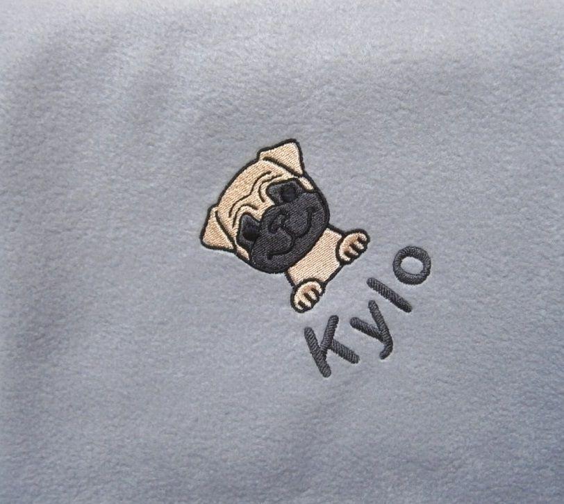 PUG Embroidered Fleece Blanket