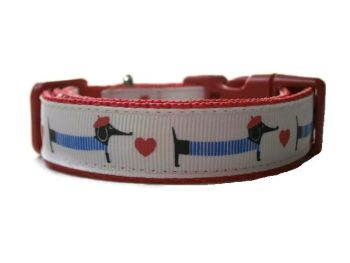 Dachshund & Heart Collar - Choice of 10 Colours
