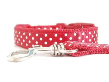 Polka Dot Collar & Lead set - Red
