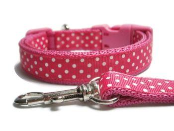 Polka Dot Collar & Lead set - Dark Pink