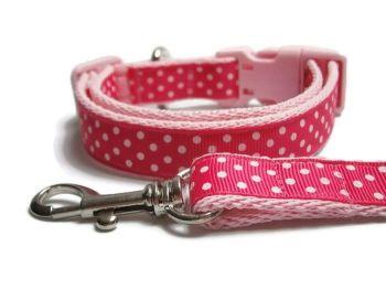 Polka Dot Collar & Lead set - Light Pink